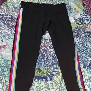 7/8 Ankle Rainbow Stripes and Black Leggings